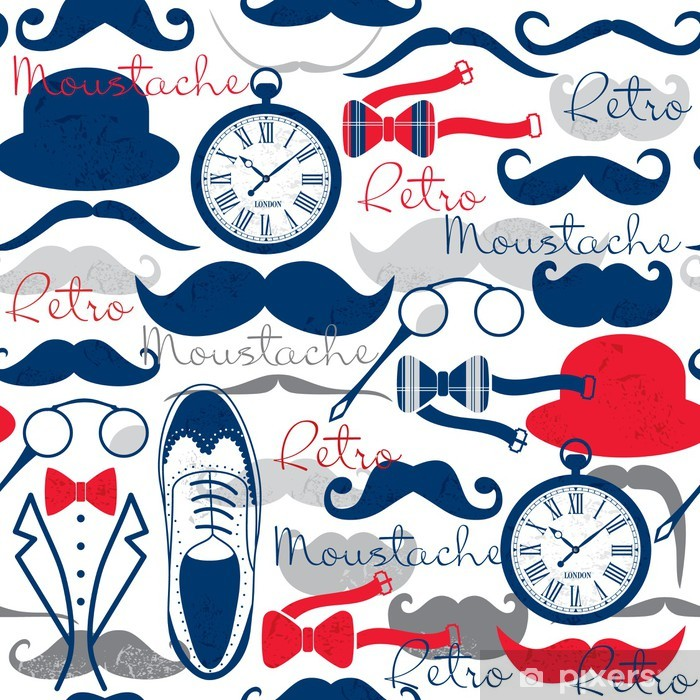 Pixerstick Sticker Retro vintage naadloze patroon. - Snor