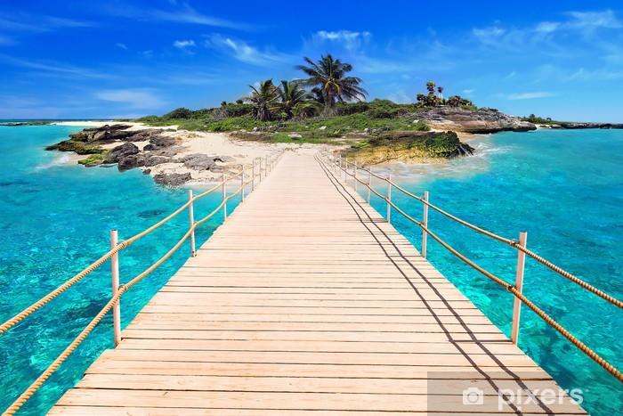 Sticker Pixerstick Pier sur l'île tropicale de la mer des Caraïbes - Palmiers