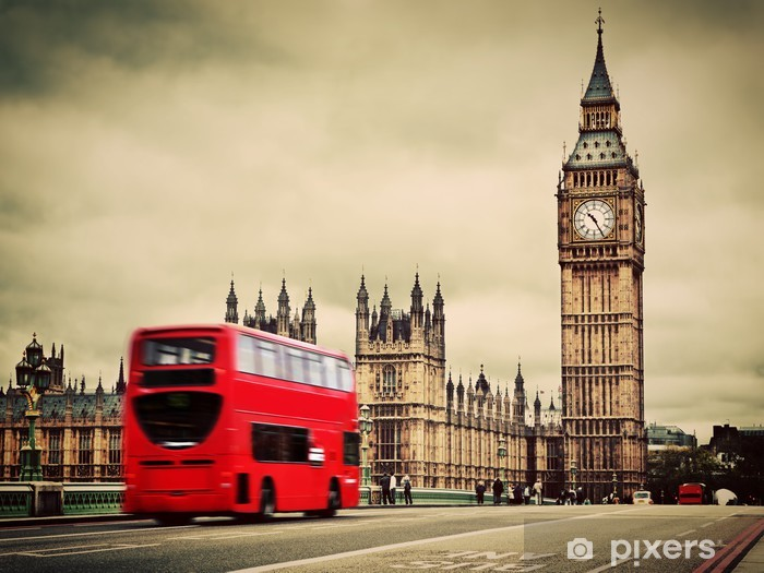 London, the UK. Red bus in motion and Big Ben Vinyl Wall Mural - Themes