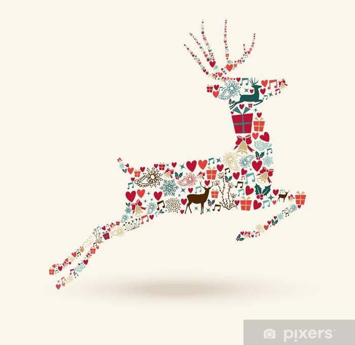 Frohe Weihnachten Aufkleber.Aufkleber Frohe Weihnachten Sprung Rehe Illustration Pixerstick