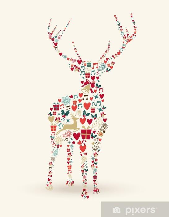 Frohe Weihnachten Aufkleber.Aufkleber Frohe Weihnachten Hirsch Illustration Pixerstick