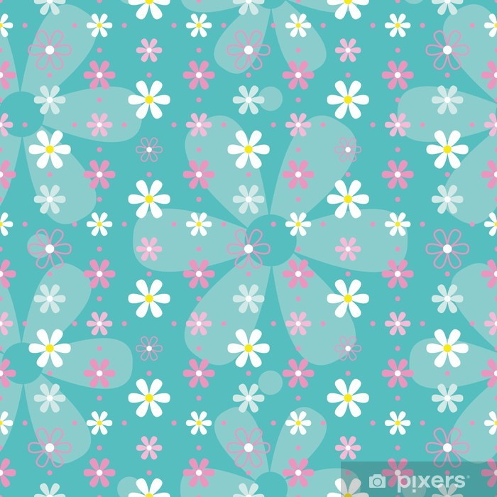 Fototapeta winylowa Różowy i niebieski wzór białe kwiaty - Style