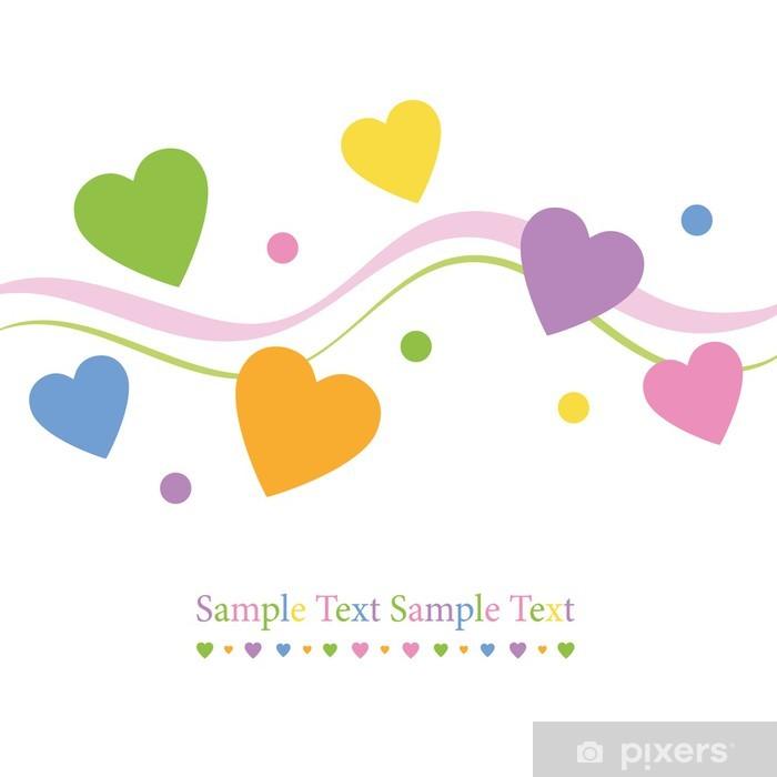 Sticker Pixerstick Coeurs colorés carte de voeux - Bonheur