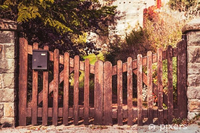 Naklejka Pixerstick Wood Fence - Pejzaż miejski