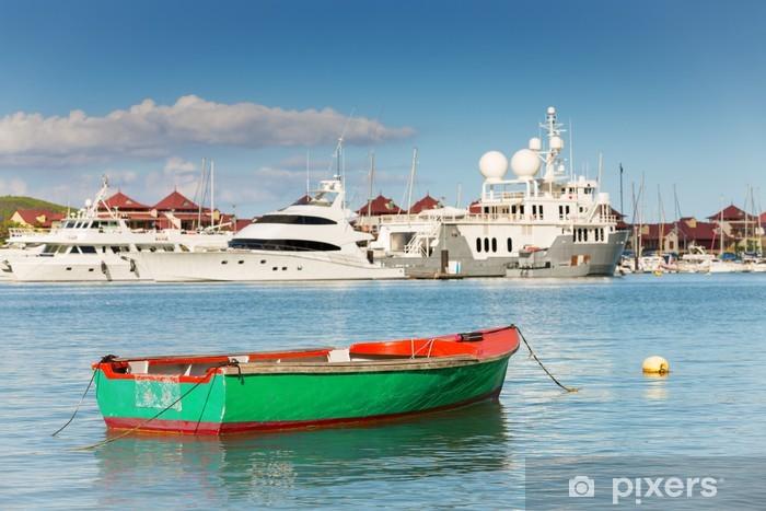 Sticker Pixerstick Bateau de pêche avec des yachts de luxe fond, Eden Island, Mah - Paix