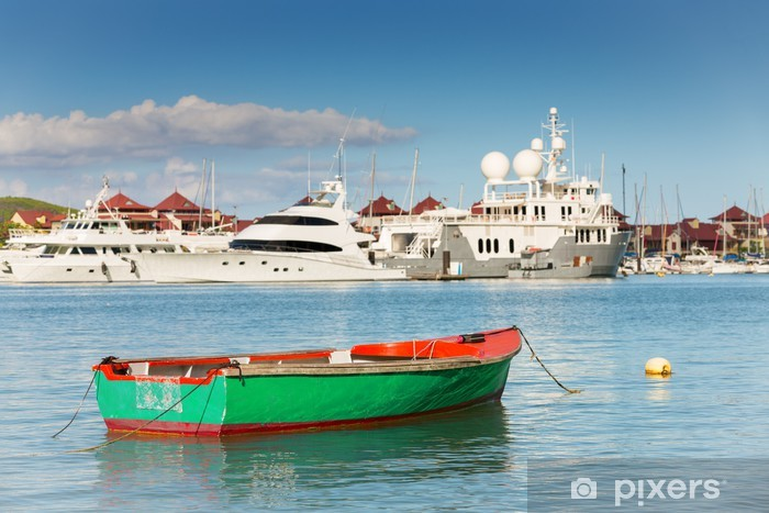 Fishing boat with luxurious yachts background, Eden Island, Mah Pixerstick Sticker - Peace