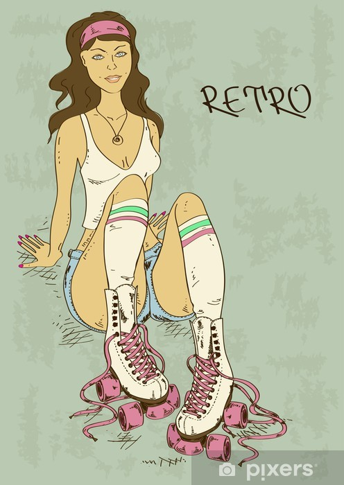 Retro illustration with girl on roller skates Vinyl Wall Mural - Women