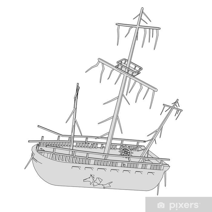 Vinilo Pixerstick Caricatura De Naufragio De Barco Pixers