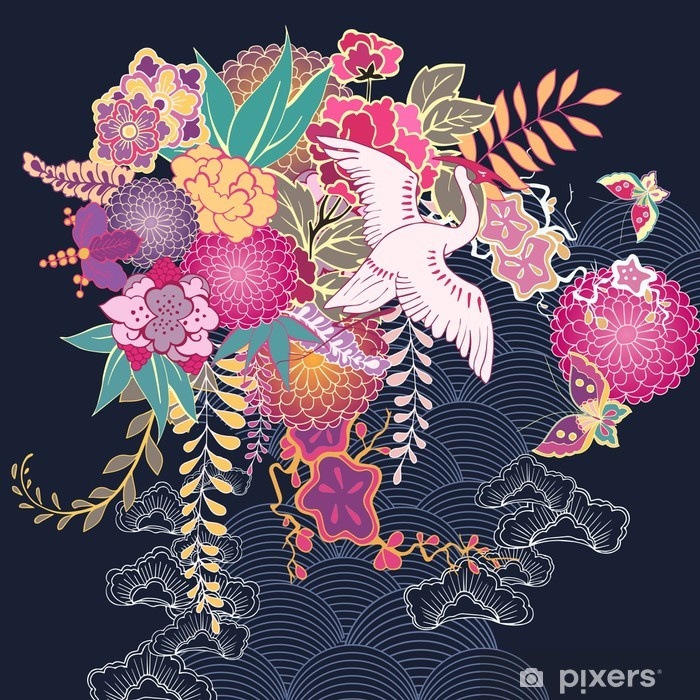 Sticker Pixerstick Motif floral décoratif kimono - Fleurs
