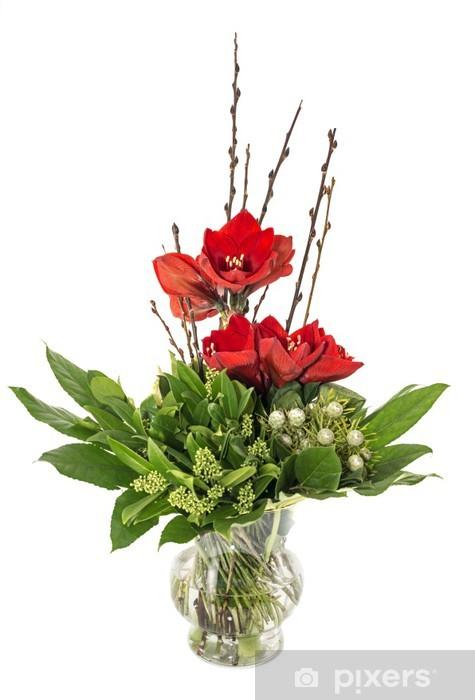 Nálepka Pixerstick Skleněná váza s červenou amarylis - Květiny