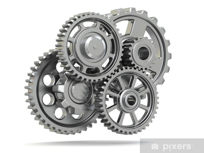 a497821d2d6 Perpetuum mobile. Metal gears on white isolated background. Vinyl Wall  Mural - Machinery