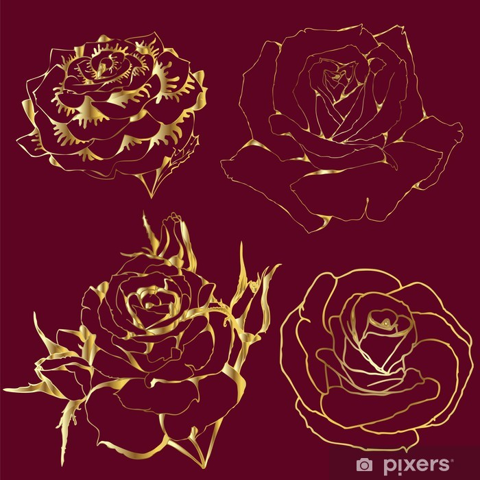 Poster Gold Rosen. Silhouetten von Blumen auf weinrotem Hintergrund. - Blumen
