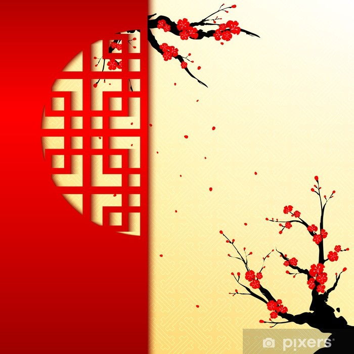Chinese New Year Cherry Blossom Background Poster - Styles