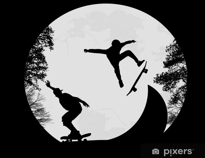 Fototapeta winylowa Skaterzy robi trick z klapką - Skateboarding
