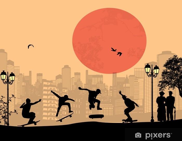 Skater silhouettes Pixerstick Sticker - Skateboarding