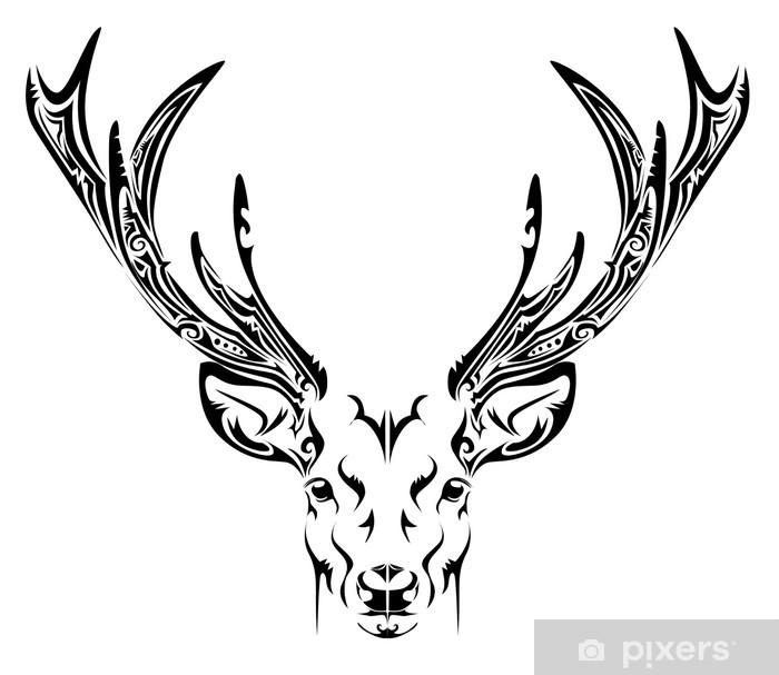 Naklejka Abstrakcyjny Tatuaż Plemienny Głowy Jelenia Pixers