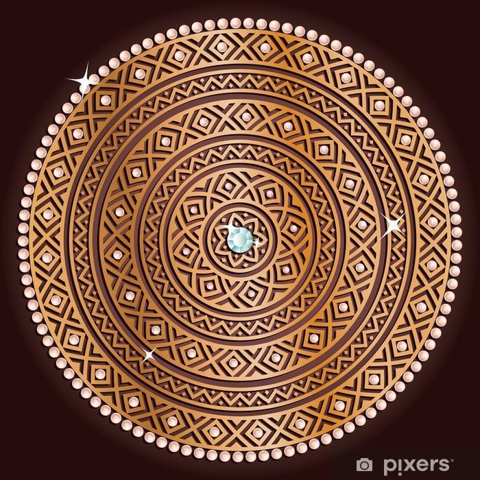 Nálepka Pixerstick Zlaté etnické bezešvé textury se stínem. - Struktury