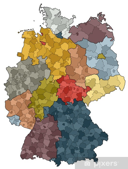 Fotobehang Duitsland Kaart Provincies En Districten Pixers