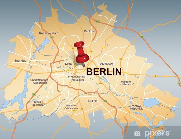 Kort Over Berlin Med Rod Push Pin Fototapet Pixers Vi Lever