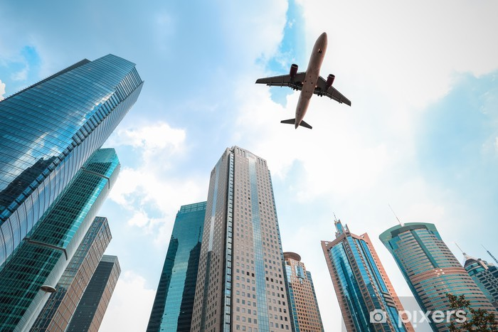 Pixerstick Sticker Moderne gebouwen met vliegtuig - Overige