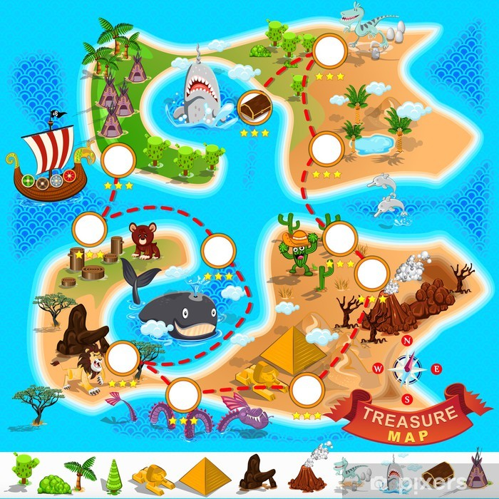 Pirate Treasure Map Washable Wall Mural - Other Other