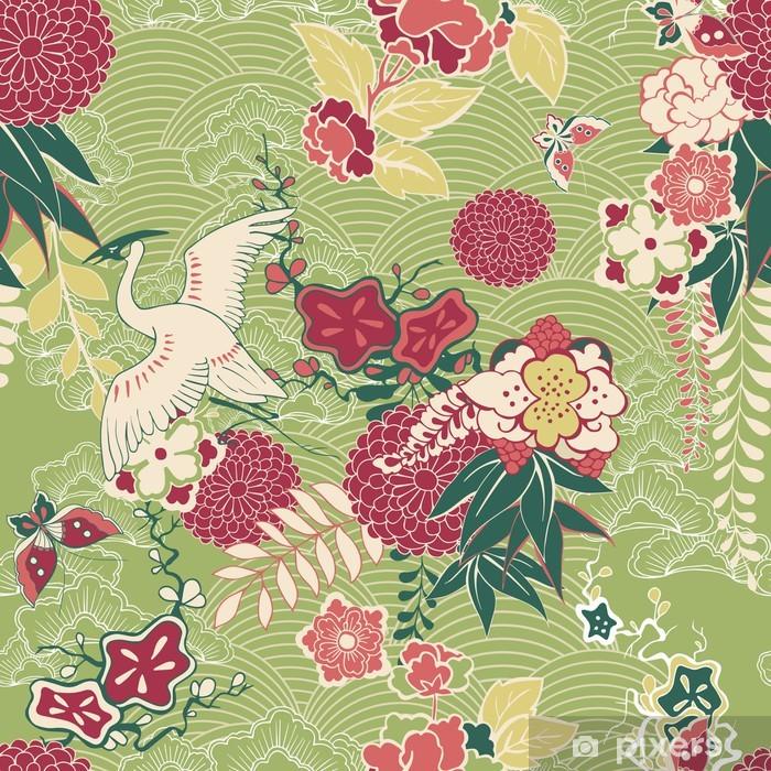 Papier peint vinyle Motif de soie Oriental - Styles