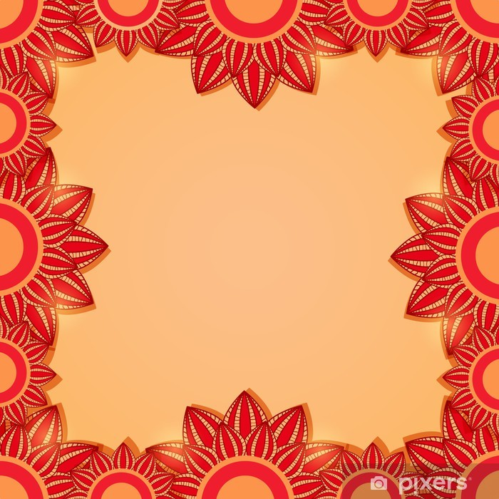 Sticker Pixerstick Cadre floral rouge - Arrière plans