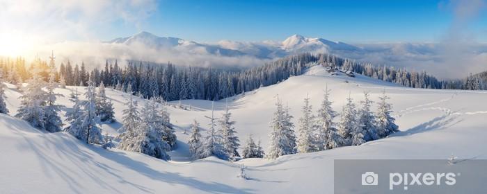 Sticker Pixerstick Panorama de montagne en hiver - Thèmes