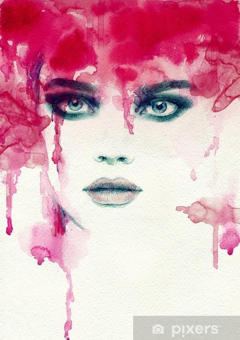 Deursticker Mooie vrouw. aquarel illustratie - Mensen