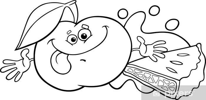 Vinilo Pixerstick Manzana y pastel para colorear de dibujos animados ...