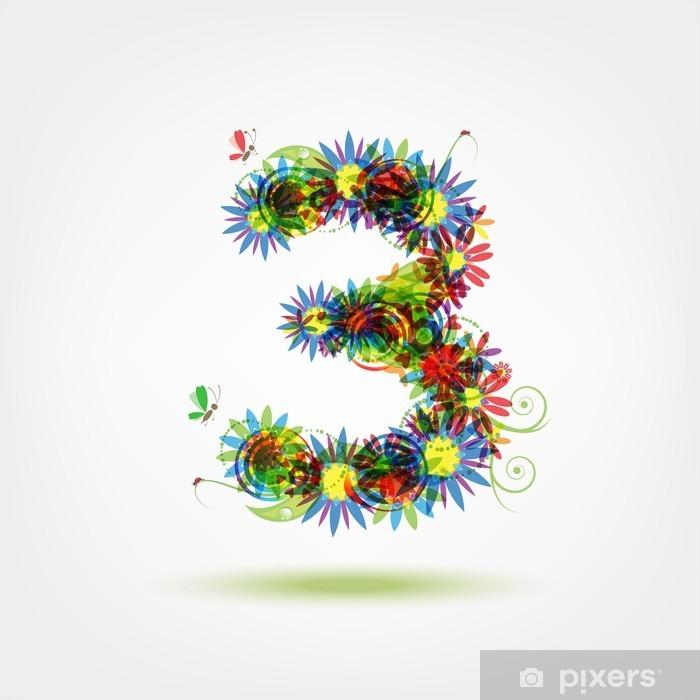 Nálepka Pixerstick Tři, květinový číslo pro svůj design - Značky a symboly