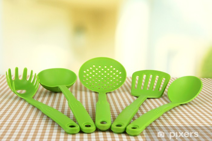 Plastic Kitchen Utensils On Tablecloth On Bright Background Vinyl Wall  Mural   Themes
