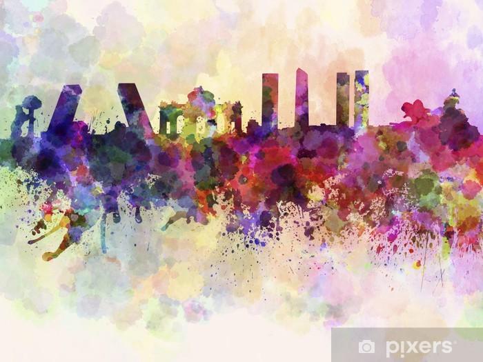 Madrid skyline in watercolor background Pixerstick Sticker - Themes