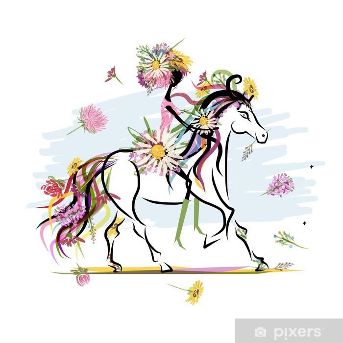 Pixerstick Sticker Bloemen meisje op witte paard voor uw ontwerp - Muursticker