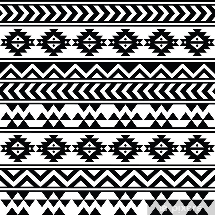 Aztec tribal seamless black and white pattern Pixerstick Sticker - Styles