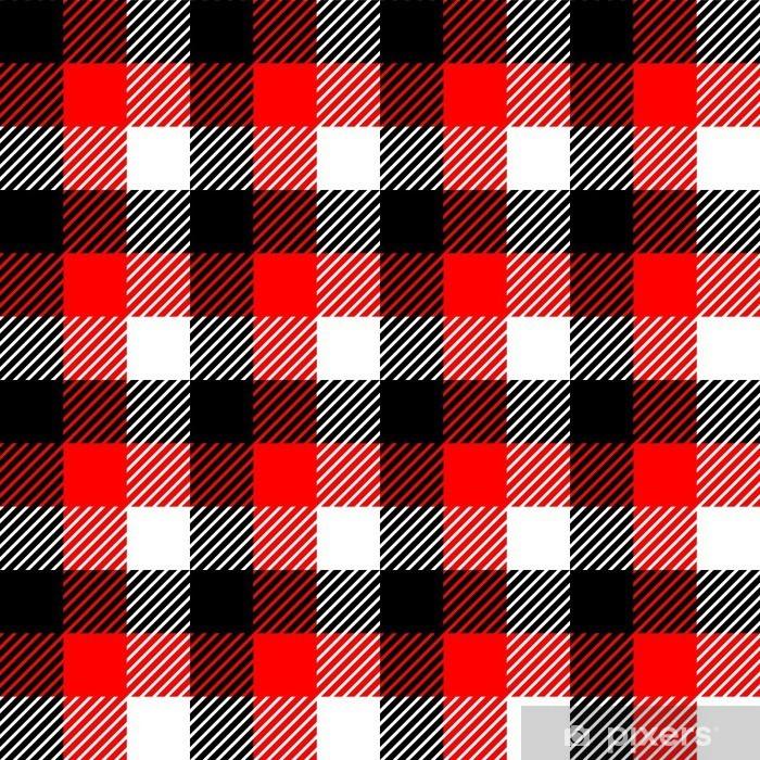 Fototapete Checkered Gingham Stoff Nahtlose Muster In Schwarz Weiß Rot