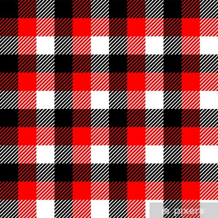 Checkered Gingham Fabric Seamless Pattern In Black White Red Wall