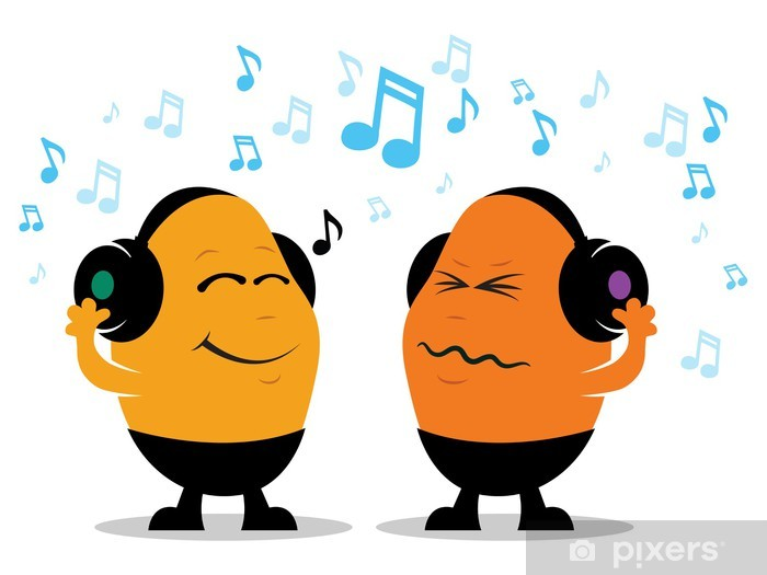 Pixerstick Aufkleber Kopfhörer-Musik-Cartoon - Fröhlichkeit