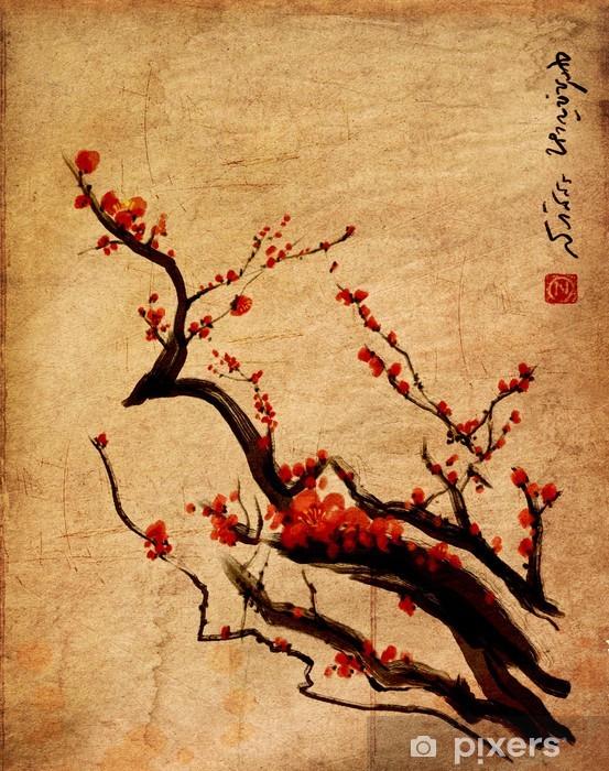 Papier peint vinyle Sakura, fleurs de cerisier prune peinture chinoise - Styles