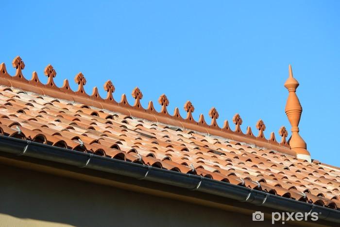 Carta da parati piastrella tetto canale e ombrellone frieze