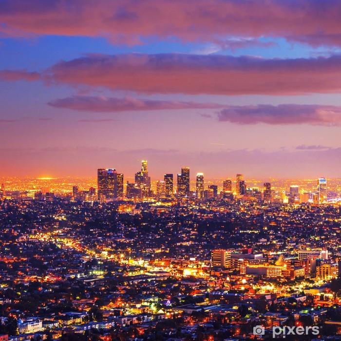 Sticker Pixerstick Los Angeles horizon de la ville coucher de soleil nuit - Thèmes