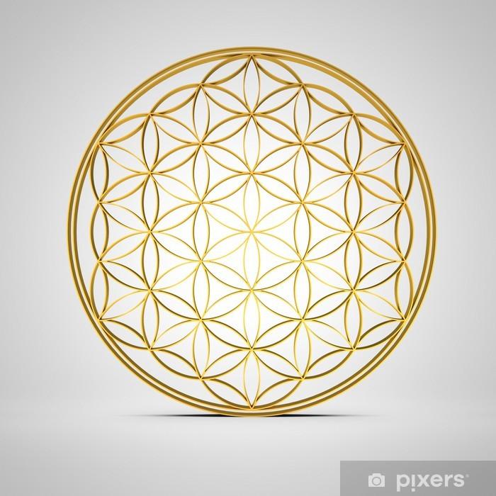 Fototapeta winylowa Flower of Life - złoty 3D - Religie