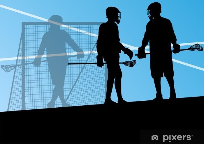 Pixerstick Sticker Lacrosse spelers actieve sporten silhouetten achtergrond illustrati - Andere Gevoelens
