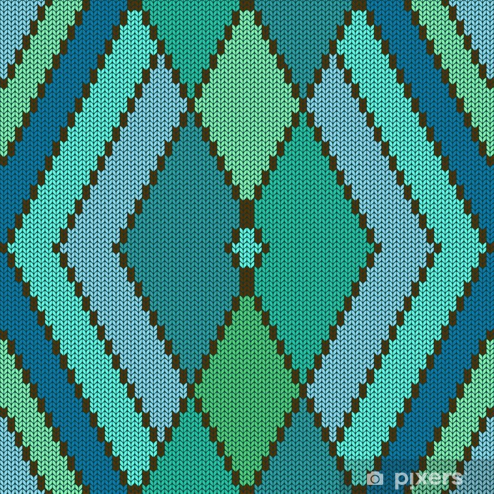 Knitted seamless pattern with rhombus Poster - Textures