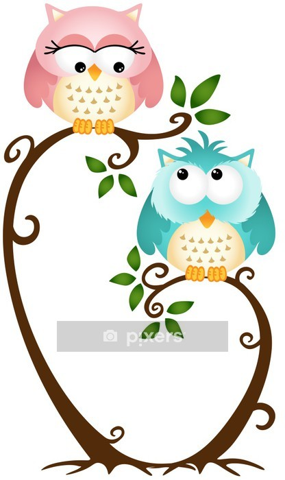Cute Couple Owls On The Tree Wall Decal - Birds