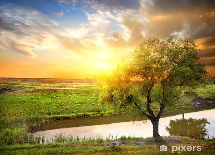 Nálepka Pixerstick Západ slunce nad jarní řeky - Témata