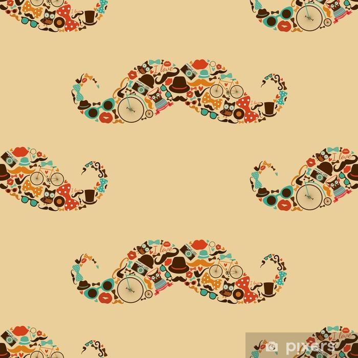 Naklejka Pixerstick Hipster Mustache Kolorowe bez szwu deseń - Wąsy