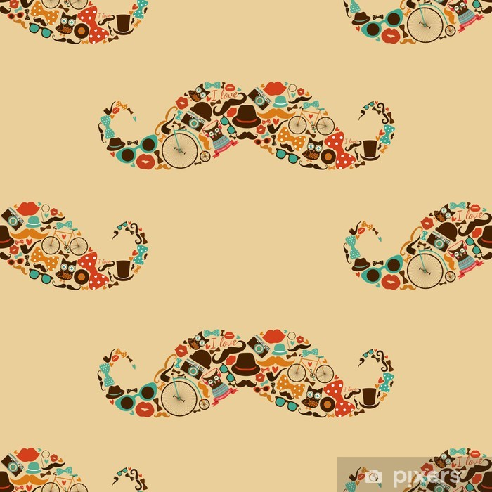 Hipster Mustache Colorful Seamless Pattern Pixerstick Sticker - Moustache