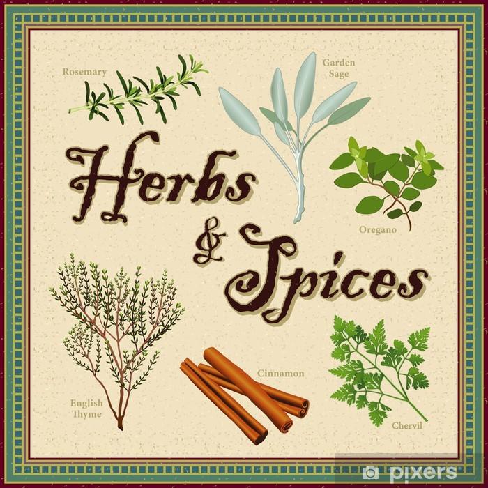Papier peint vinyle Herbes - Spice, romarin, sauge, cerfeuil, cannelle, thym, l'origan -