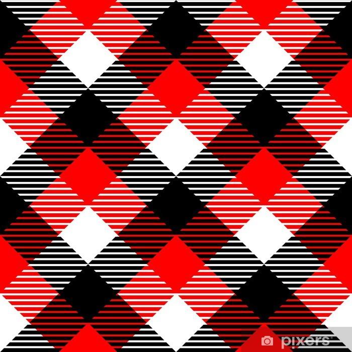 Papier Peint Tissu A Carreaux Vichy Seamless Dans Le Noir Rouge Blanc